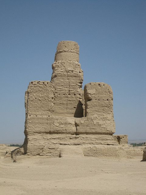 Stupa at the Jiaohe ruins, China,  was an important site along the Silk Road trade route leading west.: