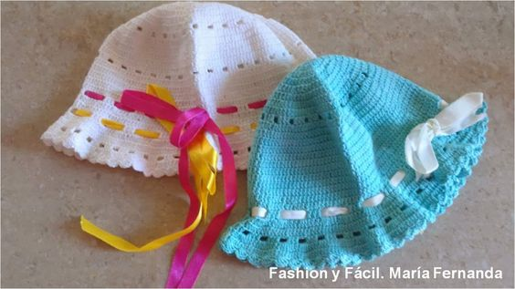 Fashion y Fácil : Gorros fáciles para niñas tejidos a ganchillo. Gor...