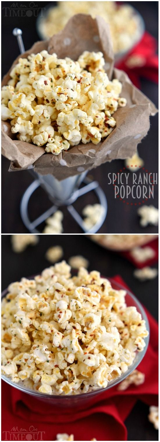 You're just four ingredients away from snacking paradise with this delicious Spicy Ranch Popcorn! So addicting, this delightfully easy recipe is sure to become a new family favorite! | MomOnTimeout.com | #appetizer #snack #recipe
