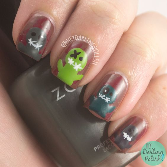 Zombies  #nails, #nailart, #nailpolish, #zombies, #heydarlingpolish, #thenailartguild, #halloween, #scary, #halloweennailart
