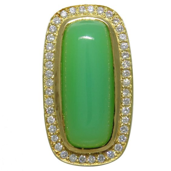 Large Seidengang Chrysoprase Diamond Gold Ring | From a unique collection of vintage more rings at https://www.1stdibs.com/jewelry/rings/more-rings/