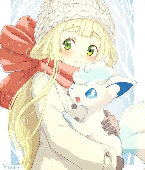 Lillie And Snowy Enjoying The Winter Chills Pokemon Pokemon Alola Cute Pokemon