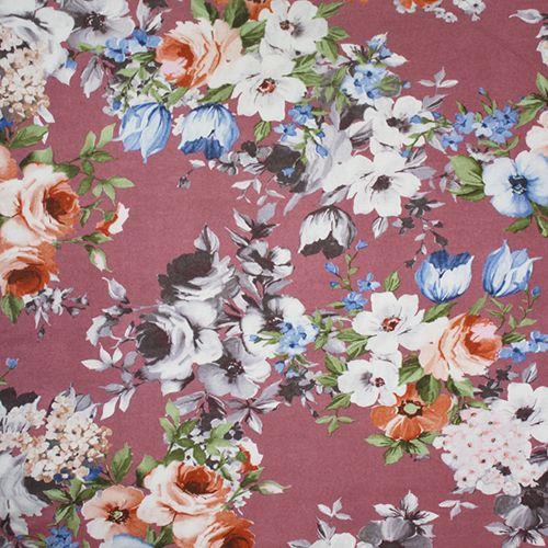 4 Metres Yellow Blue /& Lilac Blossom Flowers 100/% Viscose Printed Dress Fabric.