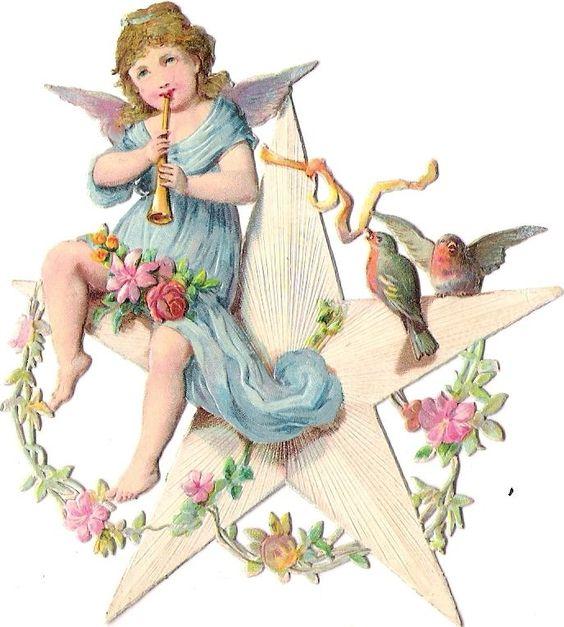 Oblaten Glanzbild scrap diecut chromo Engel angel Amor cherub Stern star robin: