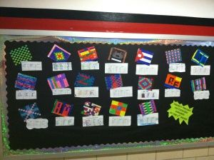 Students decorate a 10 by 10 patchwork square and then figure out the fractions.