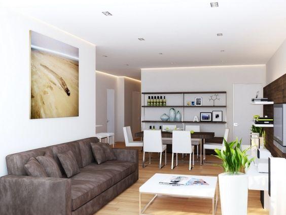 ideen wohnzimmer essbereich braun weiß kombination modern - wohnzimmer braun modern