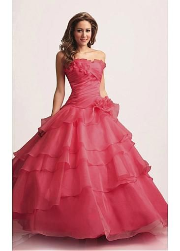 Beautiful Organza Strapless Frill Layered Gown