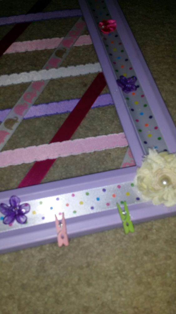 For hair bows used a large poster frame.