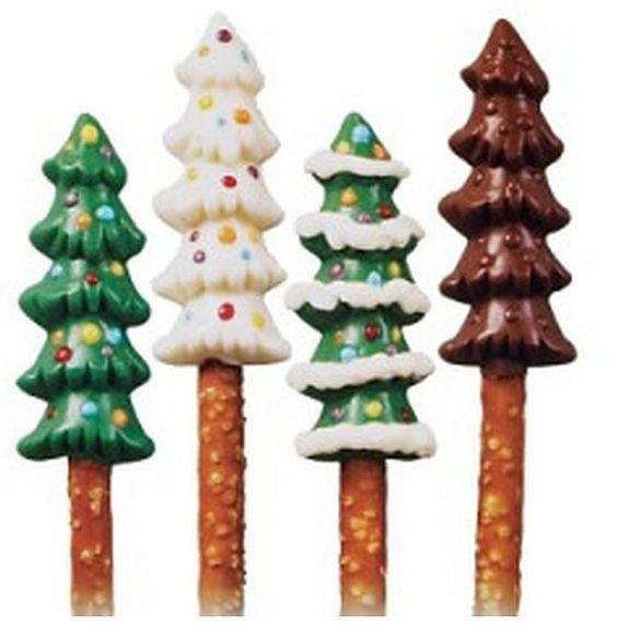 MAKE YOUR OWN PRETZEL POPS! How Fun! Christmas Mold Set TREES & SNOWMEN for sale on #Etsy