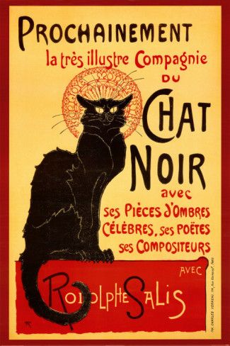 """A black cat works magic to lure patrons in to """"Chat Noir,"""" the nightclub in this poster by Theophile Alexandre Steinlen (1859 – 1923). Originally a textile designer, Steinlen is best known as an illustrator who created posters of cabarets and music hall performers incorporating his signature cats. The Chat Noir, a lively Montmartre cabaret, published a journal illustrated by Steinlen, who created hundreds of images for French magazines."""