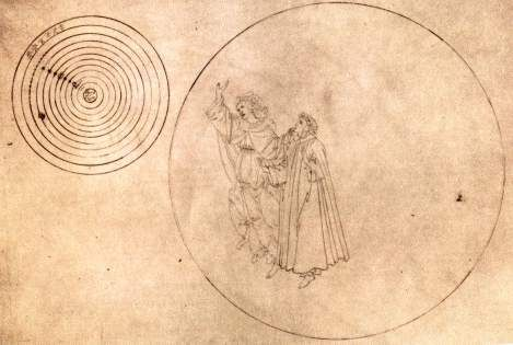 Botticelli, illustration for Dante's Paradiso, Canto 2: Dante and Beatrice in the sphere of the Moon:  Now you can see how the skies work: they're ordered like stairs and each is moved from the one above and moves the one below.