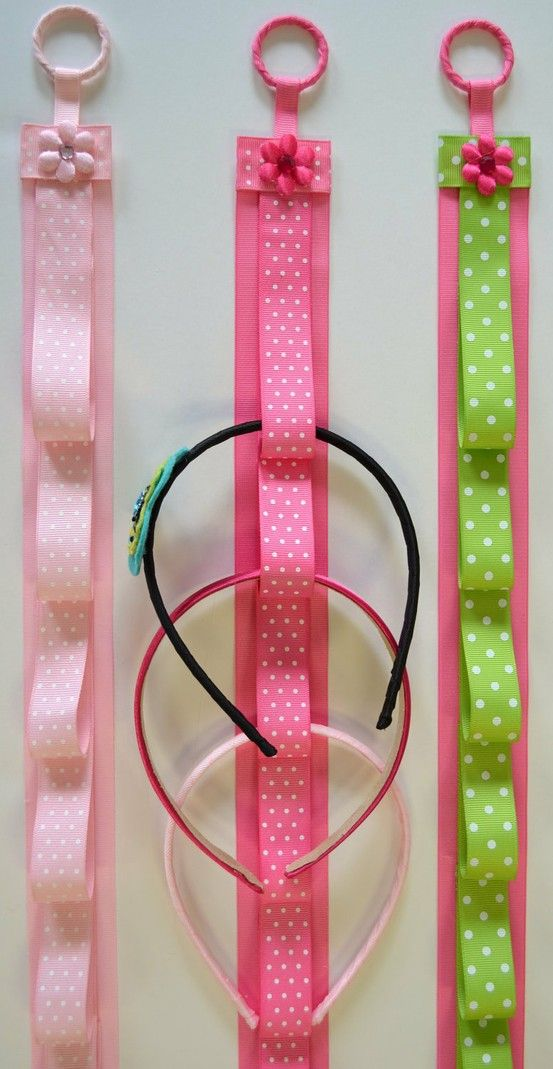 head band holder... could attach hair clips to ribbon loops too. Love!