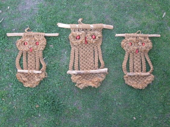 Vintage Owl Macrame Family.  They are HUGE, the largest being over two feet long.  Only $45.00 for the family.