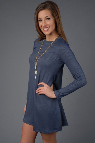 Blue Casual Long Sleeve Knit Dress