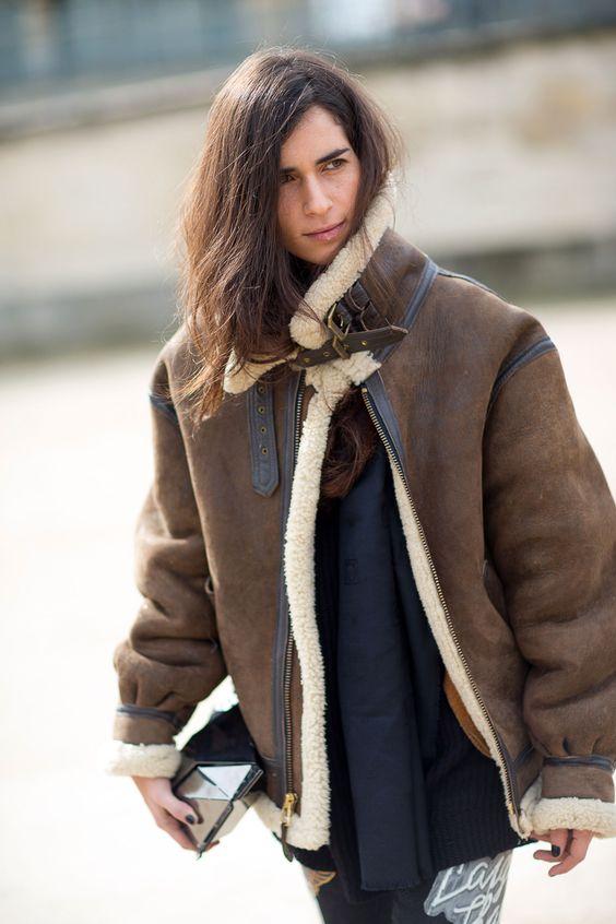 Acne oversized, leather jacket. Paris Fashion Week, Street style.