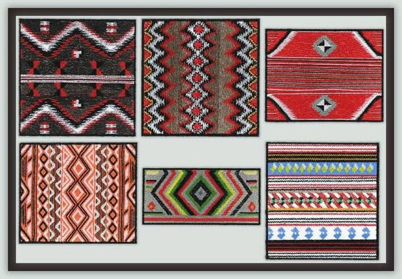 Native American Textile Art by Fred FUN SET Only $15 !  Stitched together these would make a great tote bag or purse. Or mix them with similar colored fabrics for throw for a favorite chair. They would also work well for a table mat or runner.