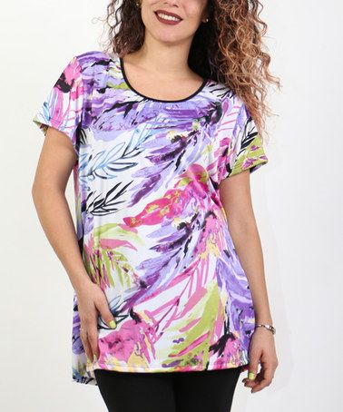 Another great find on #zulily! Purple Abstract Scoop Neck Tunic - Plus #zulilyfinds