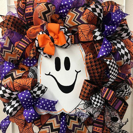 Halloween Wreath Ghost Halloween Wreath Halloween Deco Mesh