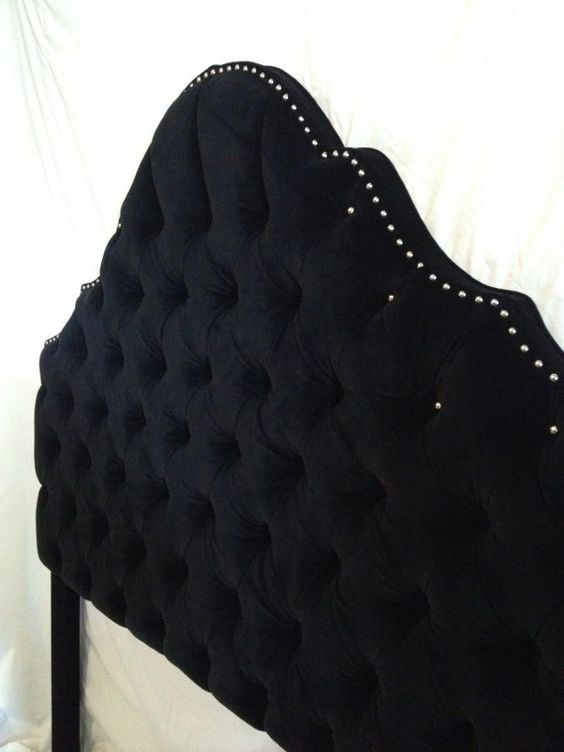 Princess Crown Tufted Upholstered Headboard with Nickel Nailheads on Etsy, $350.00