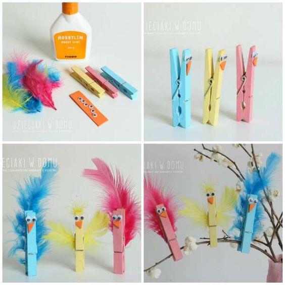 Vogels maken van een wasknijper, knutselen met wasknijpers
