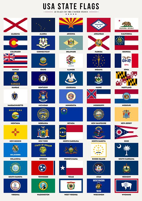 Usa State Flags By Zapista Ou In 2020 Us States Flags U S