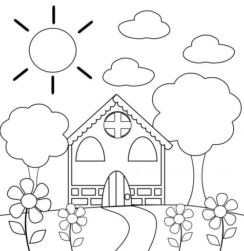 Coloring Page House Gallery Of School House Coloring Pages School