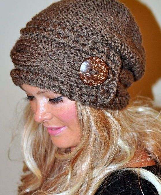 Knitting Patterns Ladies Winter Hats : Slouchy Women Hat Slouch Beanie Cable Button Hat Hand Knit ...