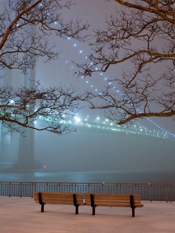 snow on the city...  #snow #city #bridge #bench