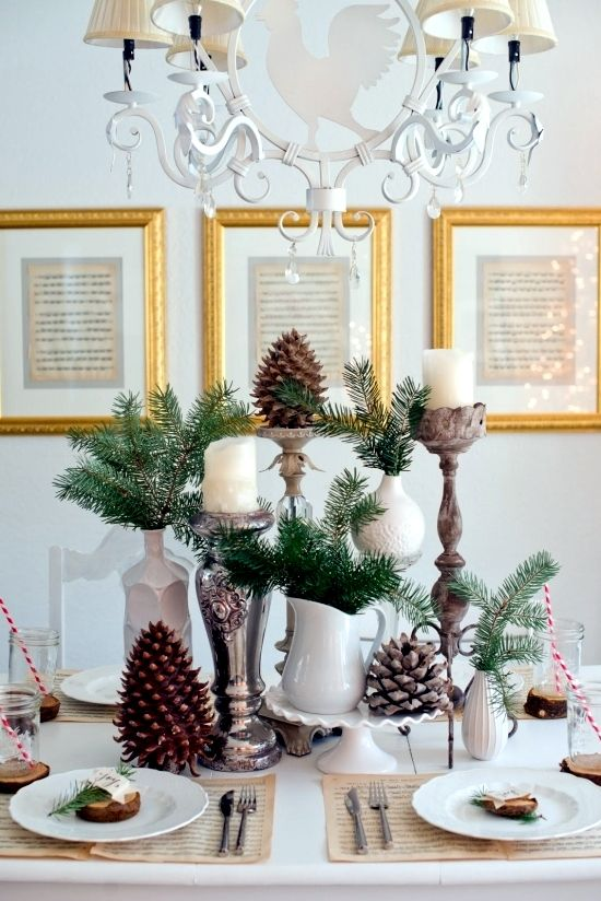 Winter Table Decor Do It Yourself Natural Materials And White Winter Christmas Centerpieces Diy Christmas Table Decorations Christmas Centerpieces