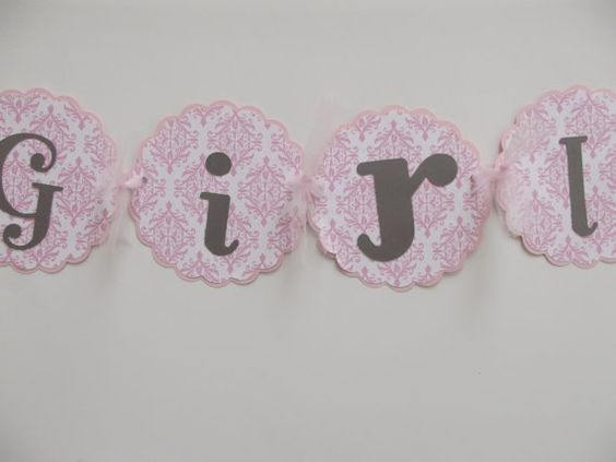 Its A Girl Damask Banner Baby Girl Shower by whimsycreationsbyann, $12.99
