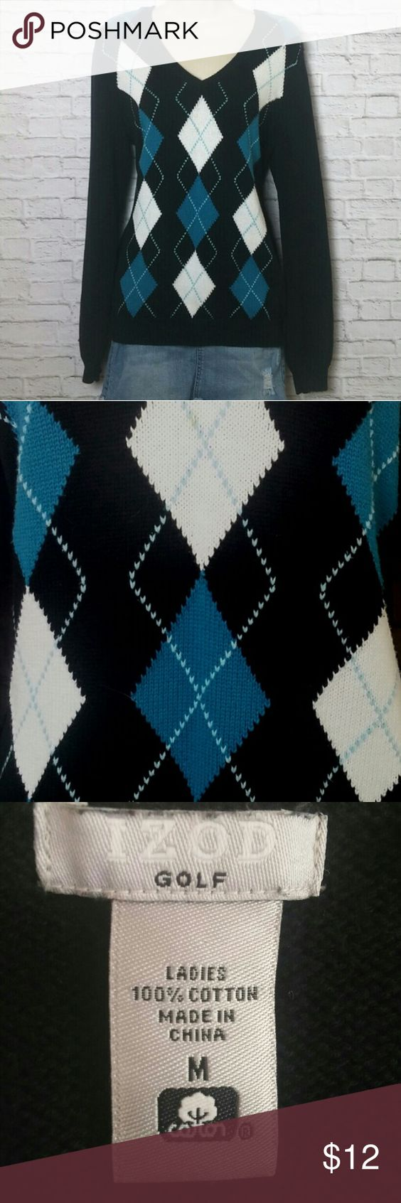 """Izod Golf Argyle Sweater Adorable and very comfortable blue,black and white argyle sweater. Cute paired with jeans and undershirt like pic 3 ( not actual sweater). In like new condition. 100% cotton. Size Medium Bust 18""""- Length 26""""-  Sleeve 26"""" Izod Sweaters V-Necks"""