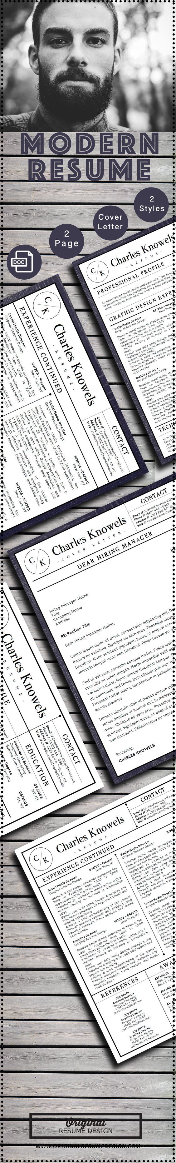 Modern resume template editable in MS Word including 2 styles of background, 2-page version, and matching cover letters.