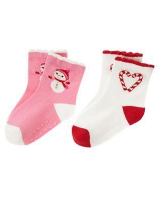 NWT Gymboree Cozy Cutie Snowman Candy Cane Socks Girls 0-6 Months Free Shipping