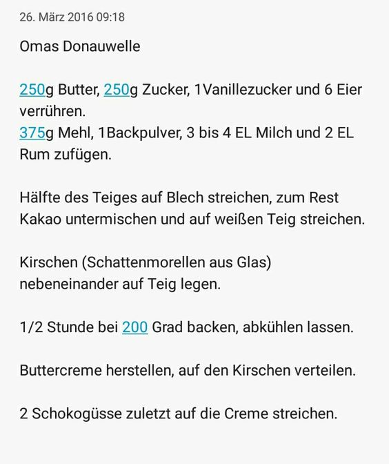 Donauwelle wie bei Oma