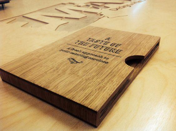 Bespoke wooden menu holders brochure display