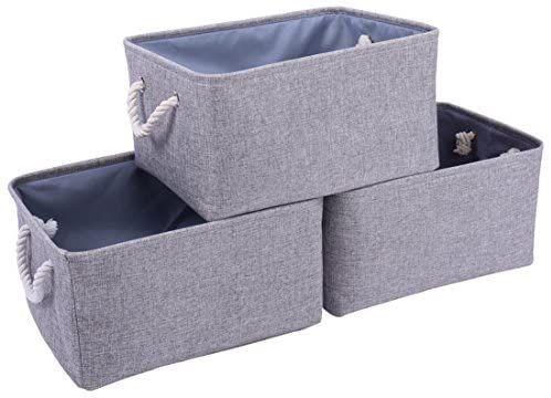 Collapsible Storage Box Cute Canvas Organizer Bin for Pet//Kids Toys HKEC Rectangle Storage Basket with Handles Books//Playroom Organization//Toy Bin//Closet//Shelf Baskets//Baby Hamper Car