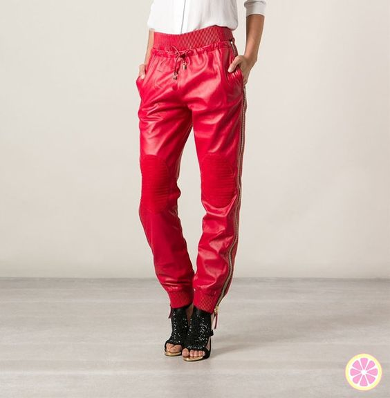 Red Leather joggers Genuine Lambskin Perforated by LimeandMagnolia