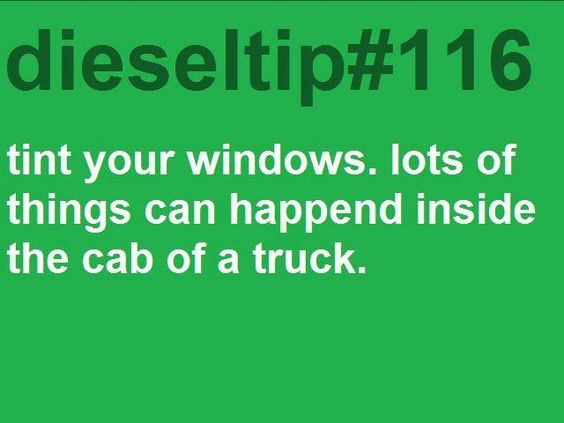 Tint your windows. LOTS of things can happen inside the cab of a truck! ;)