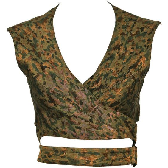 Pre-owned 1990's AZZEDINE ALAIA metallic camouflage wrap bustier top (¥82,875) ❤ liked on Polyvore featuring tops, bustiers, shirts and alaïa
