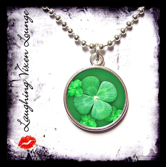 Clover Jewelry - Lucky Clover Style-D Small Pendant - Square Or Round - Clover Necklace - St Patricks Day Necklace - St Patricks Day Jewelry. $12.00, via Etsy.
