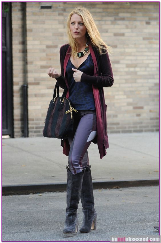 Blake Lively in fall jewel tones