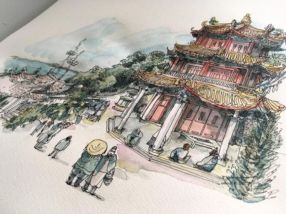 17th century Macao street scene