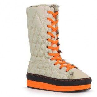 8262 Women Lace-Up Mid-Top Platform Sneaker Mid-Calf Booties - Beige