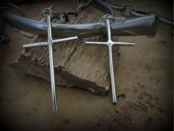 Cross Earrings Contemporary Jewelry Handmade by SterlingWear, $39.50
