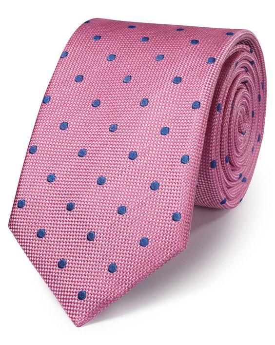 Klassische Seidenkrawatte in rosa und blau mit Punktmuster