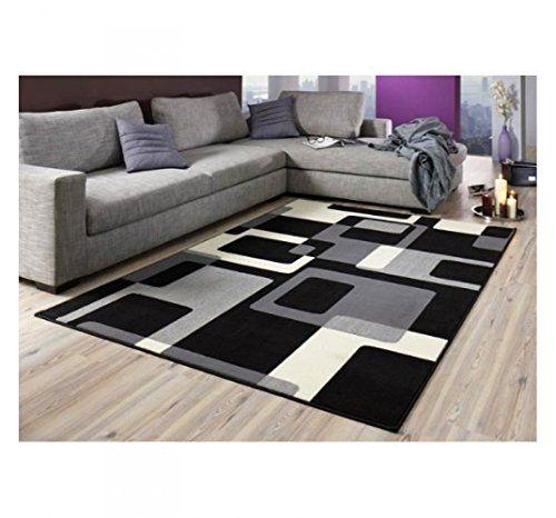 Teppich Retro schwarz beige Wohnteppich Teppich moderner   - teppiche für die küche