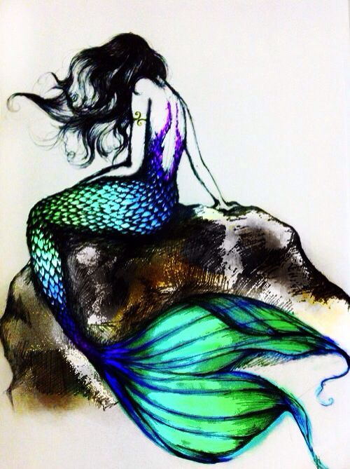 Watercolor art of a Mermaid sitting on a Rock | Watercolor ...