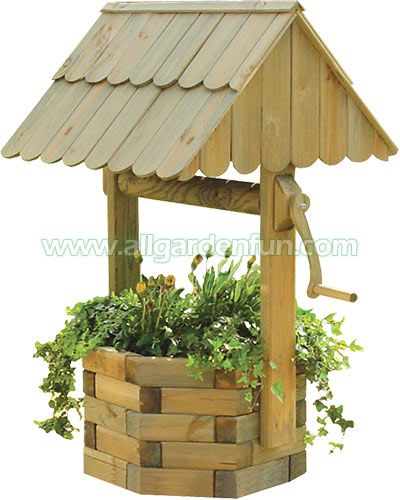 Wishing well made from landscape timbers tuin wishing for Garden wishing well designs