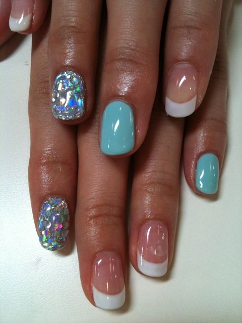 Nails, French And Sparkly Nails On Pinterest