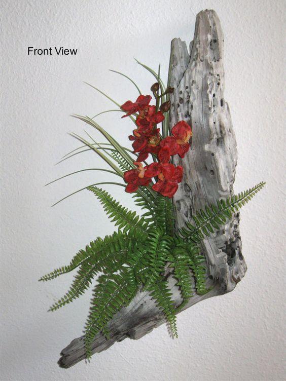 Beautiful Driftwood Floral Arrangement by JoysFunkyJunkArt on Etsy, $65.00